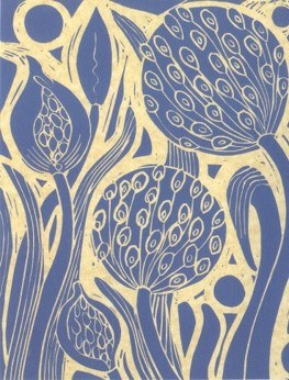 A blue and yellow linoprint design of seed heads